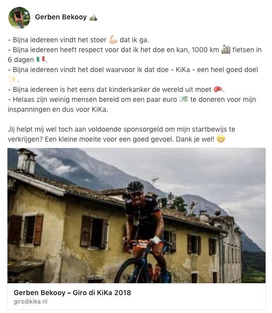 Gerben Bekooy in de Giro di KiKa