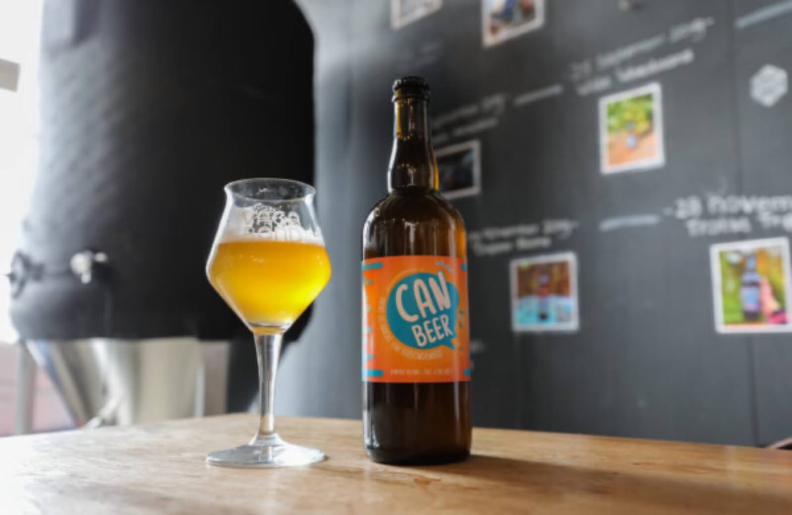 CAN Beer fles + glas